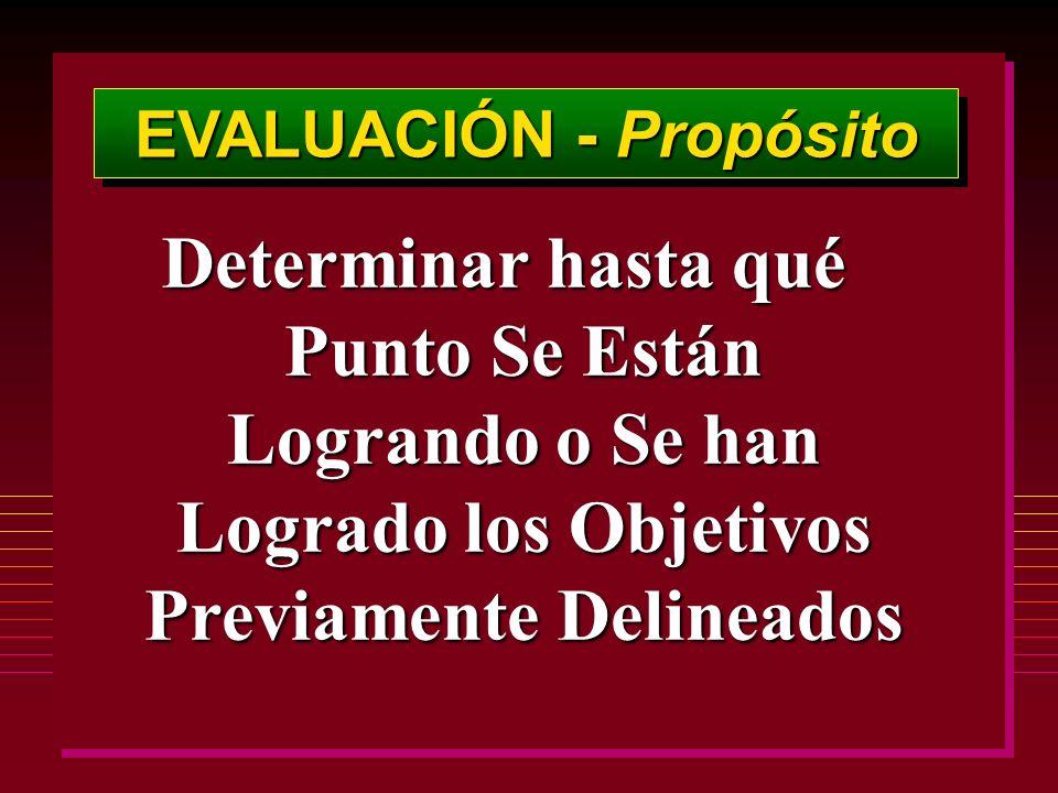 EVALUACIÓN - Propósito Determinar hasta qué Punto Se Están Logrando o Se han Logrado los Objetivos Previamente Delineados