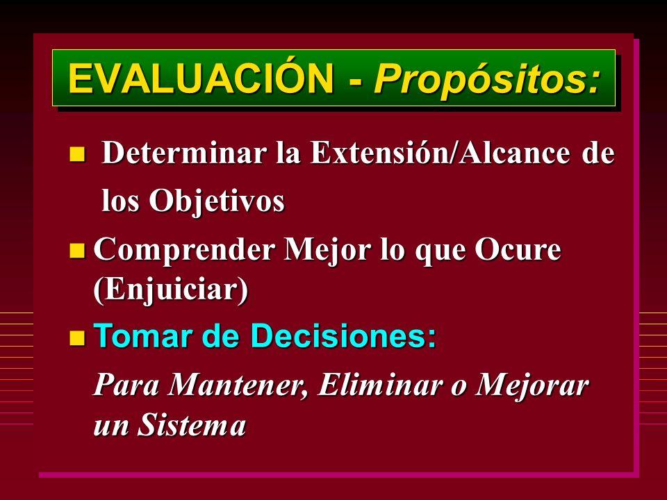 EVALUACIÓN - Propósitos: n Determinar la Extensión/Alcance de los Objetivos los Objetivos n Comprender Mejor lo que Ocure (Enjuiciar) Tomar de Decisiones: Tomar de Decisiones: Para Mantener, Eliminar o Mejorar un Sistema Para Mantener, Eliminar o Mejorar un Sistema