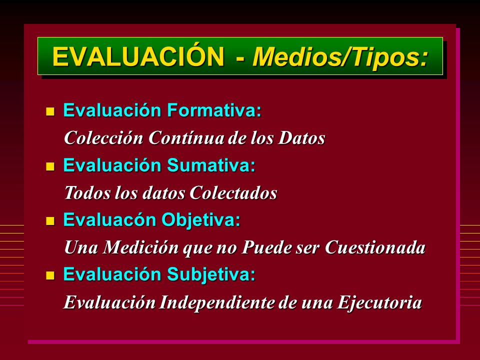 EVALUACIÓN - Medios/Tipos: Evaluación Formativa: Evaluación Formativa: Colección Contínua de los Datos Colección Contínua de los Datos Evaluación Sumativa: Evaluación Sumativa: Todos los datos Colectados Todos los datos Colectados Evaluacón Objetiva: Evaluacón Objetiva: Una Medición que no Puede ser Cuestionada Una Medición que no Puede ser Cuestionada Evaluación Subjetiva: Evaluación Subjetiva: Evaluación Independiente de una Ejecutoria Evaluación Independiente de una Ejecutoria