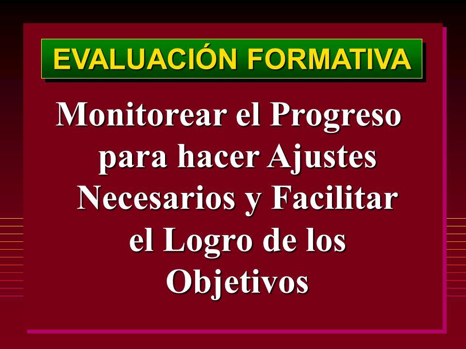 EVALUACIÓN FORMATIVA Monitorear el Progreso para hacer Ajustes Necesarios y Facilitar el Logro de los Objetivos
