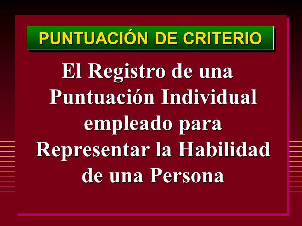 PUNTUACIÓN DE CRITERIO El Registro de una Puntuación Individual empleado para Representar la Habilidad de una Persona