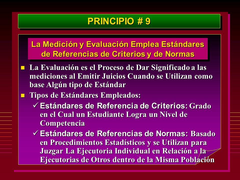PRINCIPIO # 9 La Medición y Evaluación Emplea Estándares de Referencias de Criterios y de Normas n La Evaluación es el Proceso de Dar Significado a la
