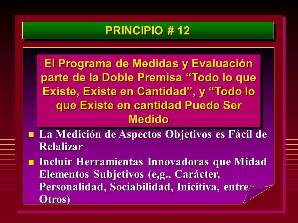 PRINCIPIO # 12 El Programa de Medidas y Evaluación parte de la Doble Premisa Todo lo que Existe, Existe en Cantidad, y Todo lo que Existe en cantidad