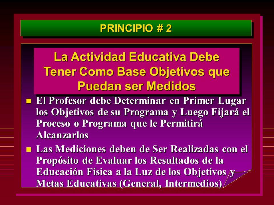 PRINCIPIO # 2 La Actividad Educativa Debe Tener Como Base Objetivos que Puedan ser Medidos n El Profesor debe Determinar en Primer Lugar los Objetivos
