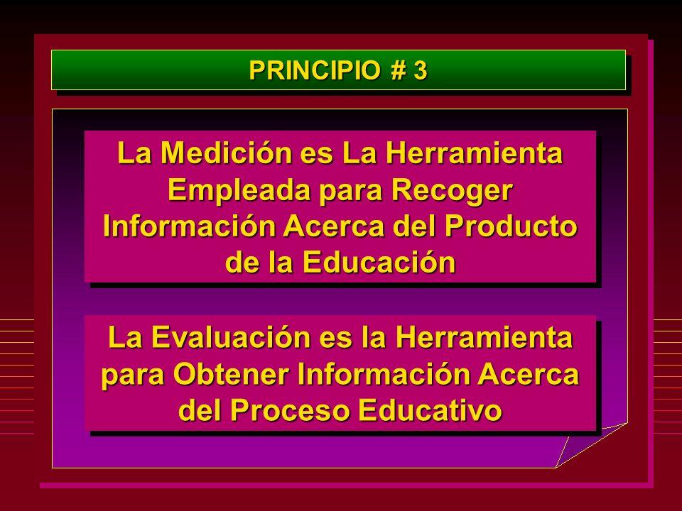 PRINCIPIO # 3 La Medición es La Herramienta Empleada para Recoger Información Acerca del Producto de la Educación La Evaluación es la Herramienta para