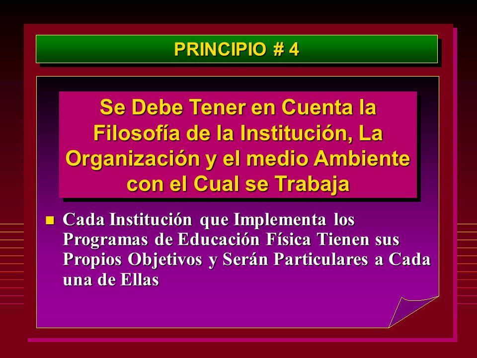 PRINCIPIO # 4 Se Debe Tener en Cuenta la Filosofía de la Institución, La Organización y el medio Ambiente con el Cual se Trabaja n Cada Institución qu
