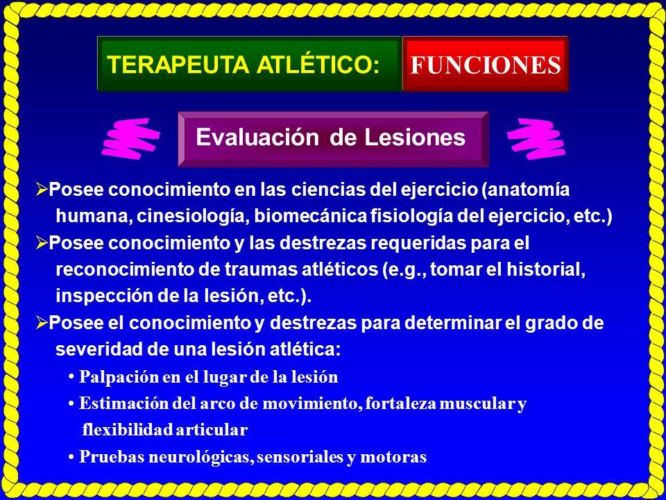 TERAPEUTA ATLÉTICO: Posee conocimiento en las ciencias del ejercicio (anatomía humana, cinesiología, biomecánica fisiología del ejercicio, etc.) Posee