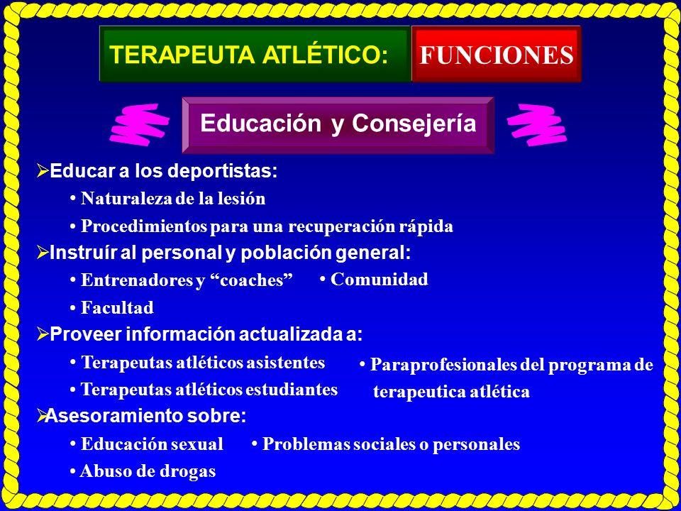 TERAPEUTA ATLÉTICO: Educar a los deportistas: Naturaleza de la lesión Procedimientos para una recuperación rápida Instruír al personal y población gen