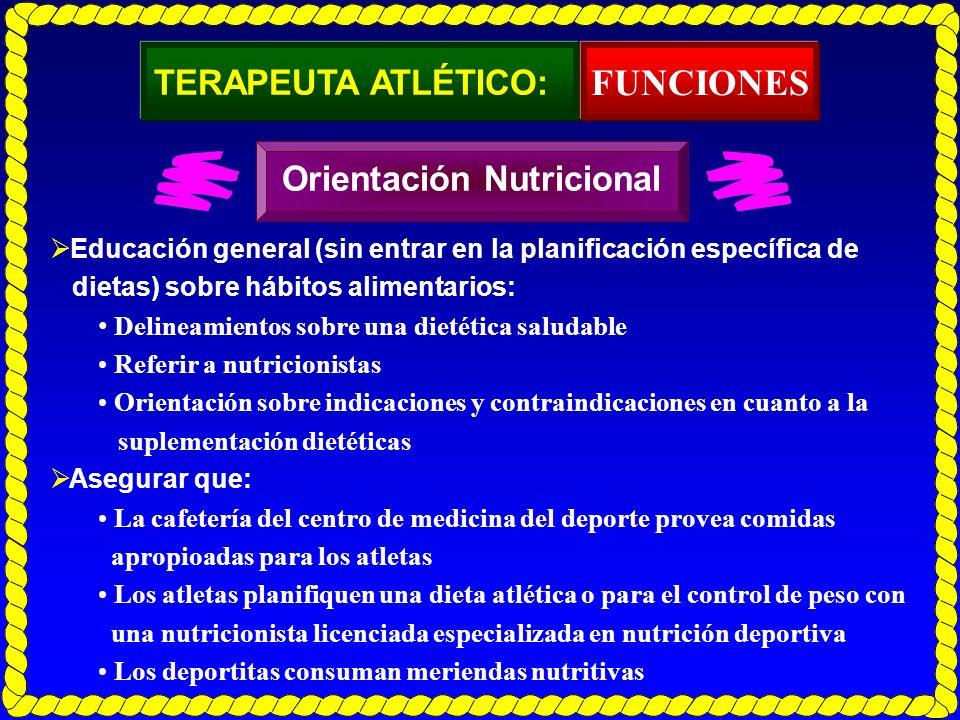 TERAPEUTA ATLÉTICO: Educación general (sin entrar en la planificación específica de dietas) sobre hábitos alimentarios: Delineamientos sobre una dieté