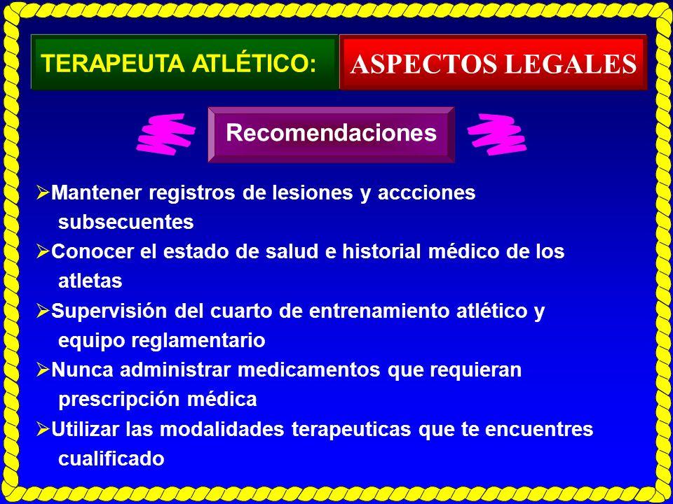 TERAPEUTA ATLÉTICO: Mantener registros de lesiones y accciones subsecuentes Conocer el estado de salud e historial médico de los atletas Supervisión d