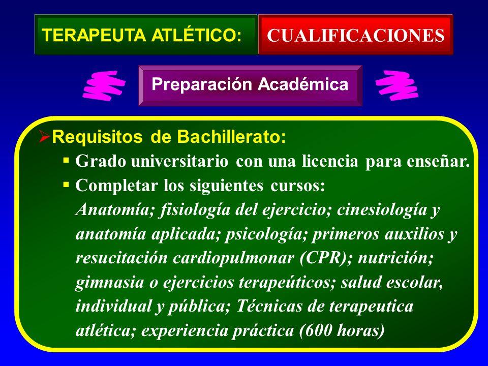 Requisitos de Bachillerato: Recomendado pero no requerido: Física, farmolocología, histología, patología, administración en educación física y salud, la sicología del coaching, técnicas de coaching, química; pruebas y evaluaciones Preparación Académica TERAPEUTA ATLÉTICO: CUALIFICACIONES