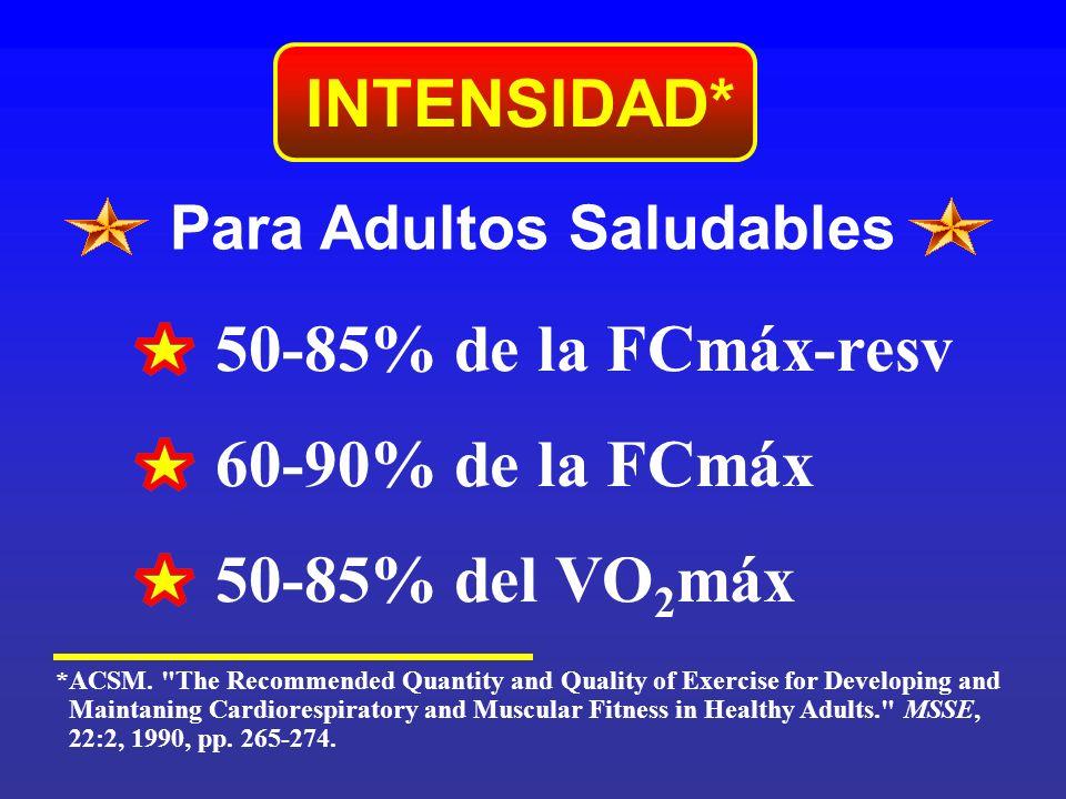 Para Adultos Saludables INTENSIDAD* 50-85% de la FCmáx-resv 60-90% de la FCmáx 50-85% del VO 2 máx *ACSM.