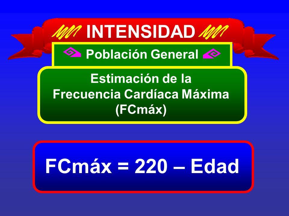 FCmáx = 220 – Edad INTENSIDAD Población General Estimación de la Frecuencia Cardíaca Máxima (FCmáx)