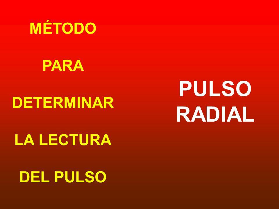 MÉTODO PARA DETERMINAR LA LECTURA DEL PULSO PULSO RADIAL