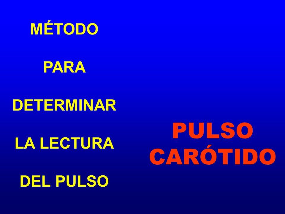 MÉTODO PARA DETERMINAR LA LECTURA DEL PULSO PULSO CARÓTIDO