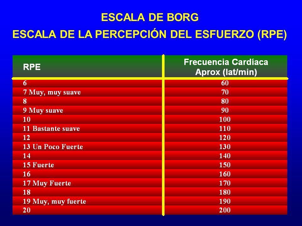 ESCALA DE BORG ESCALA DE LA PERCEPCIÓN DEL ESFUERZO (RPE)