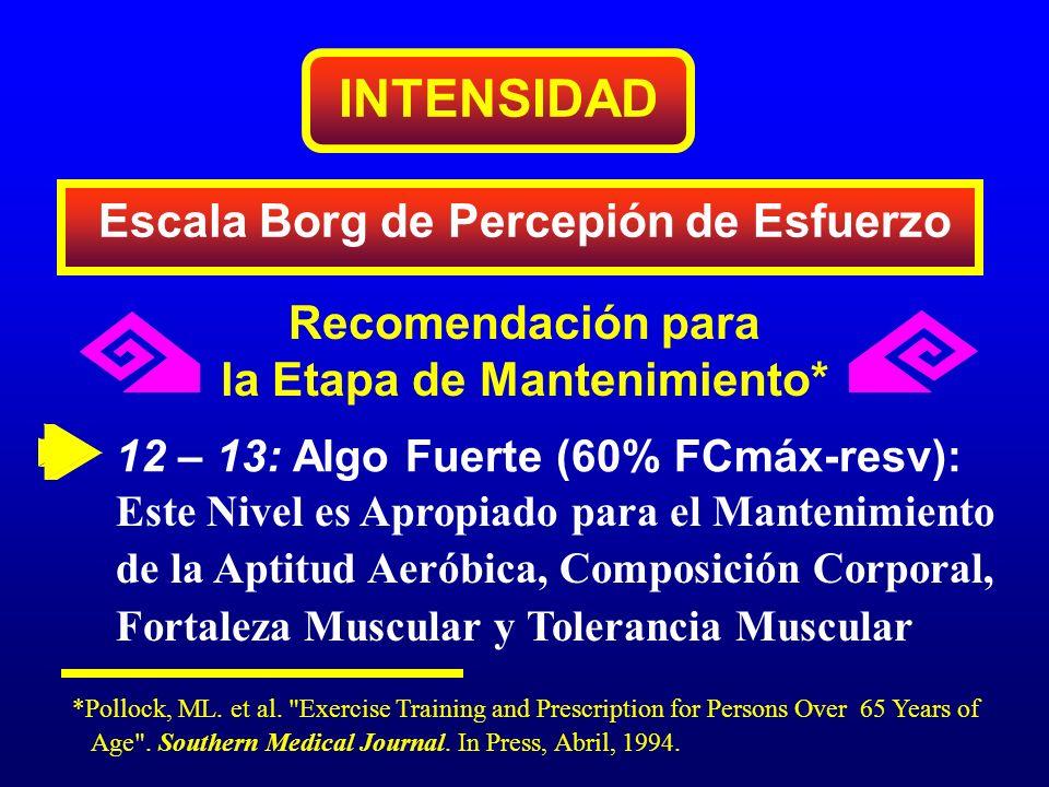 INTENSIDAD Escala Borg de Percepión de Esfuerzo Recomendación para la Etapa de Mantenimiento* 12 – 13: Algo Fuerte (60% FCmáx-resv): Este Nivel es Apr