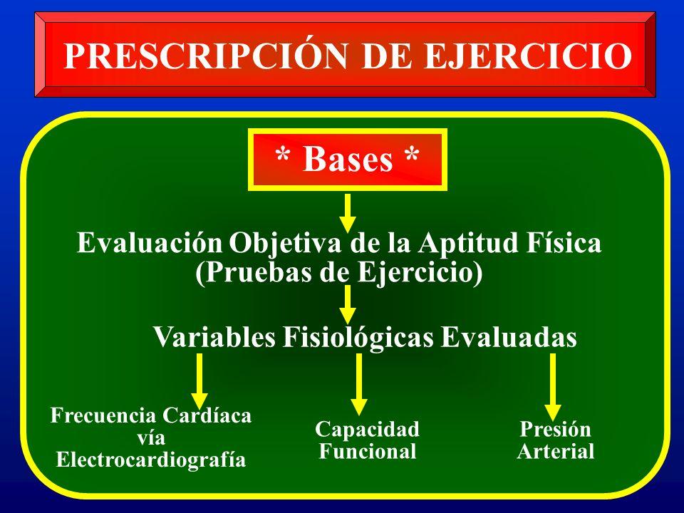 PRESCRIPCIÓN DE EJERCICIO * Bases * Evaluación Objetiva de la Aptitud Física (Pruebas de Ejercicio) Frecuencia Cardíaca vía Electrocardiografía Presió