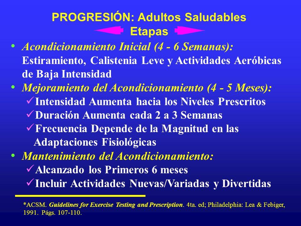 PROGRESIÓN: Adultos Saludables Etapas Acondicionamiento Inicial (4 - 6 Semanas): Estiramiento, Calistenia Leve y Actividades Aeróbicas de Baja Intensi