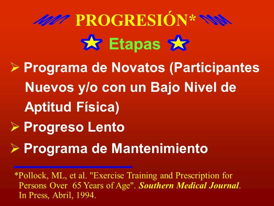 PROGRESIÓN* Etapas Programa de Novatos (Participantes Nuevos y/o con un Bajo Nivel de Aptitud Física) Progreso Lento Programa de Mantenimiento *Polloc