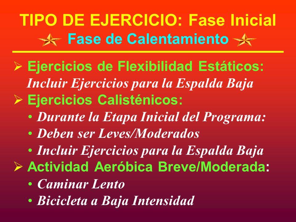 TIPO DE EJERCICIO: Fase Inicial Fase de Calentamiento Ejercicios de Flexibilidad Estáticos: Incluir Ejercicios para la Espalda Baja Ejercicios Calisté