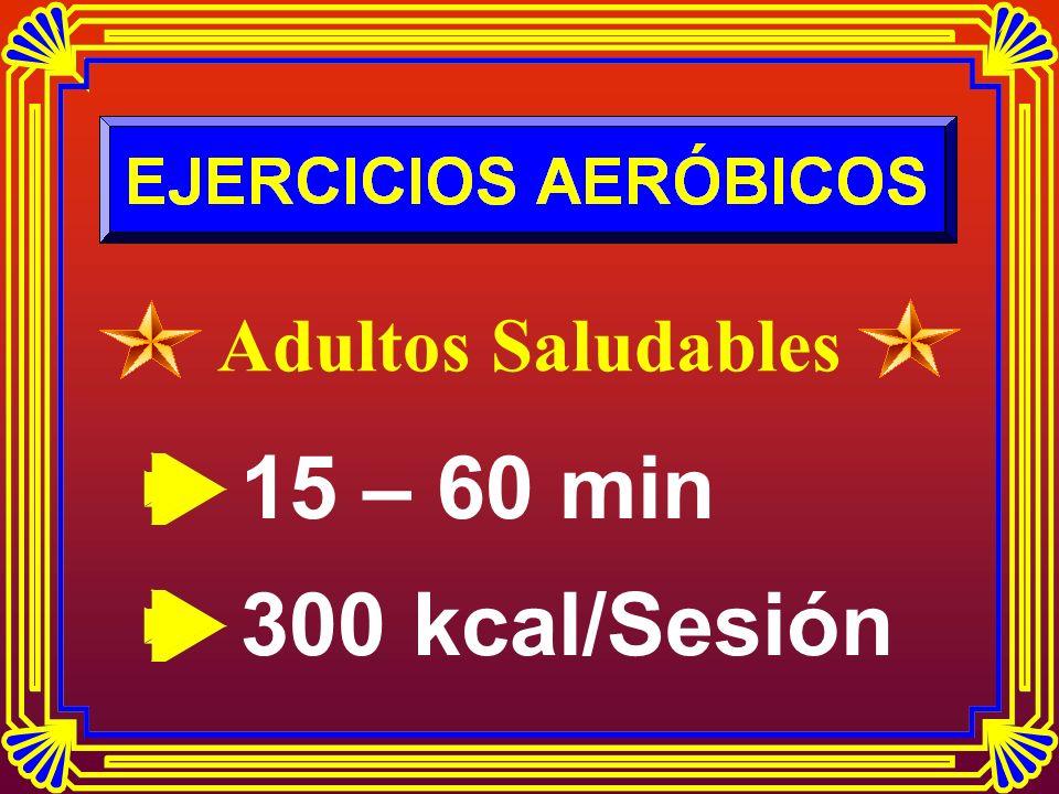 Adultos Saludables 15 – 60 min 300 kcal/Sesión