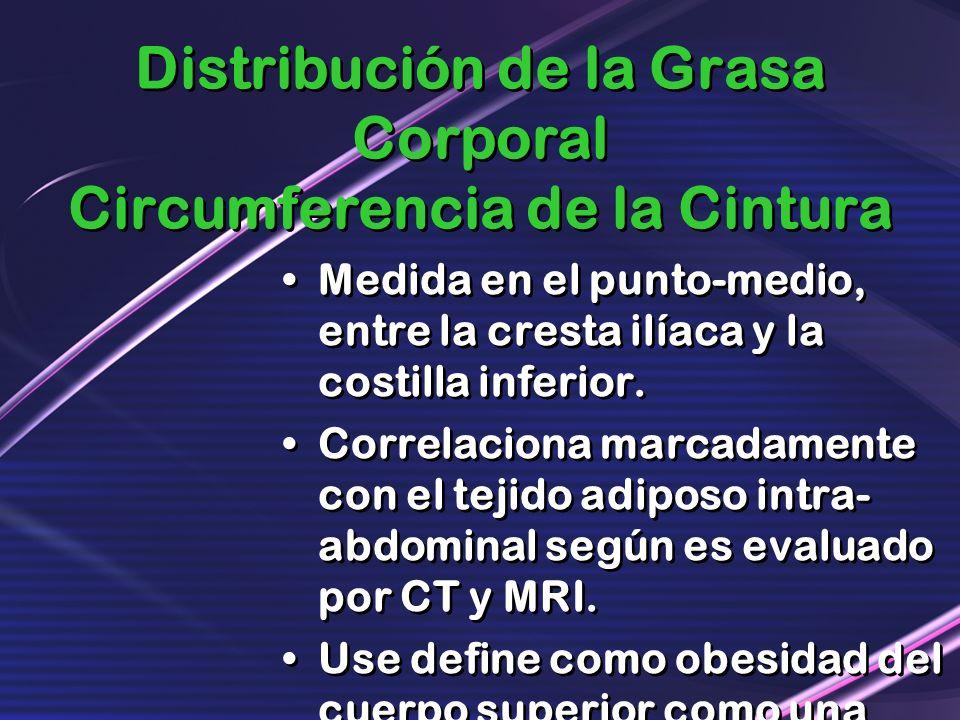 Distribución de la Grasa Corporal Circumferencia de la Cintura Medida en el punto-medio, entre la cresta ilíaca y la costilla inferior. Correlaciona m