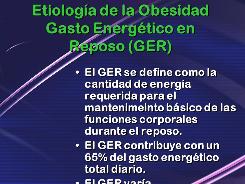 Etiología de la Obesidad Gasto Energético en Reposo (GER) El GER se define como la cantidad de energía requerida para el mantenimeinto básico de las f