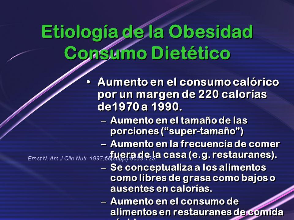 Etiología de la Obesidad Consumo Dietético Aumento en el consumo calórico por un margen de 220 calorías de1970 a 1990. –Aumento en el tamaño de las po