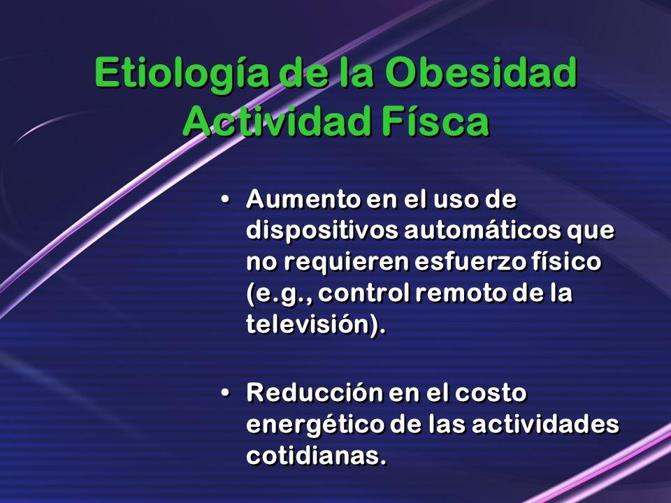 Etiología de la Obesidad Actividad Físca Aumento en el uso de dispositivos automáticos que no requieren esfuerzo físico (e.g., control remoto de la te