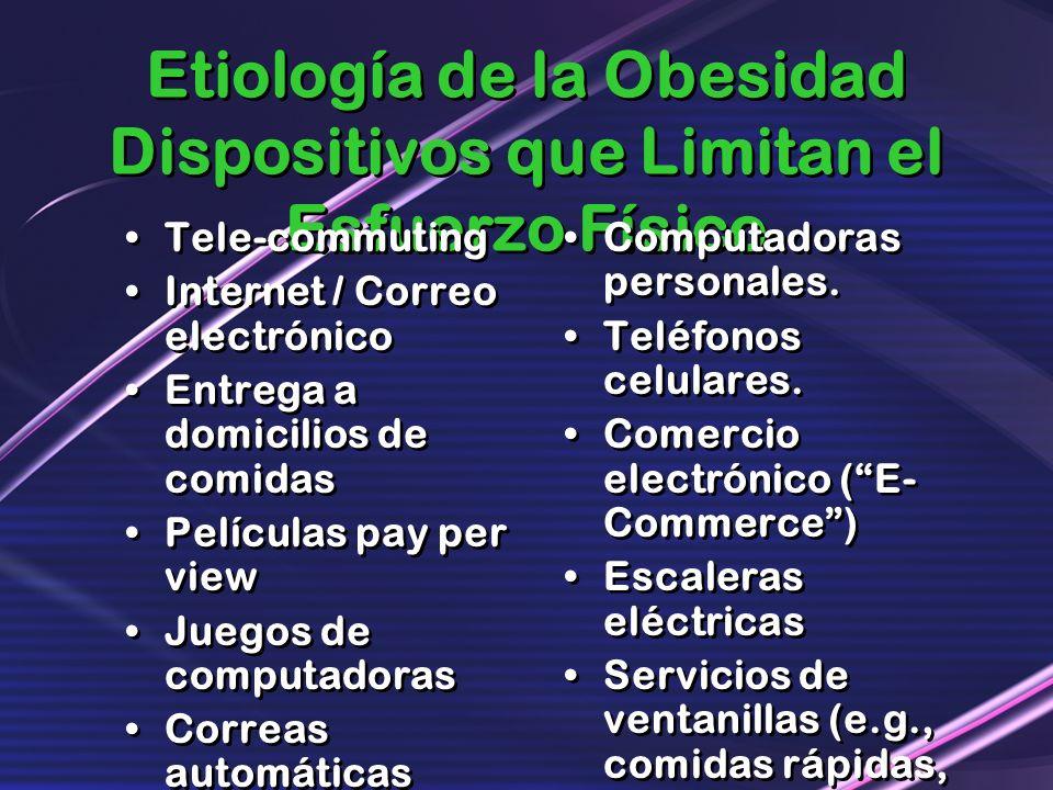 Etiología de la Obesidad Dispositivos que Limitan el Esfuerzo Físico Tele-commuting Internet / Correo electrónico Entrega a domicilios de comidas Pelí