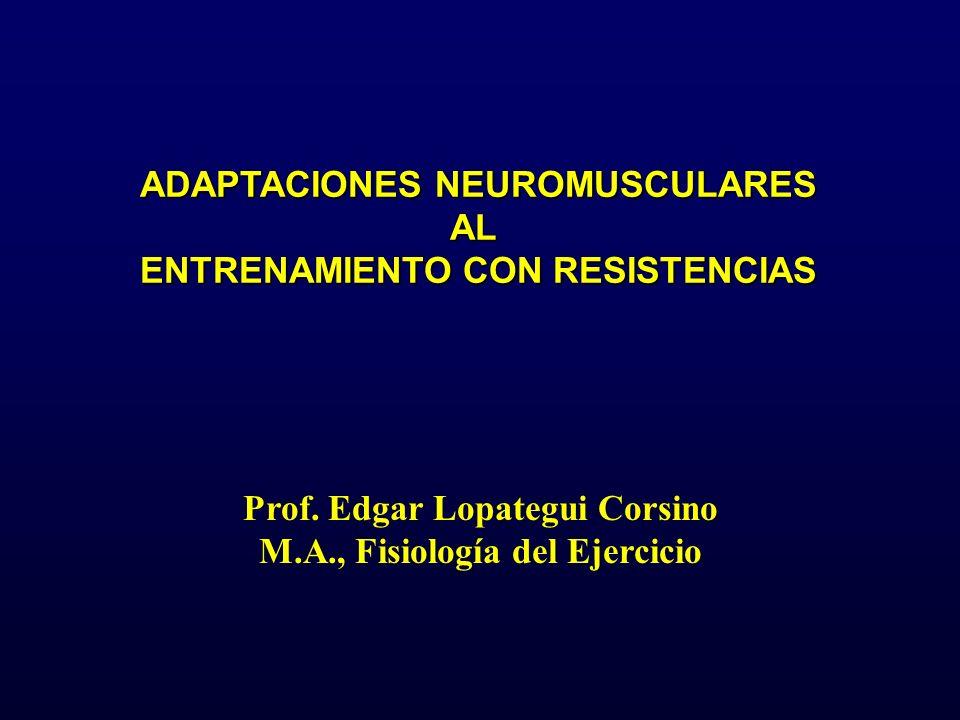 ADAPTACIONES NEUROMUSCULARES AL ENTRENAMIENTO CON RESISTENCIAS Prof. Edgar Lopategui Corsino M.A., Fisiología del Ejercicio