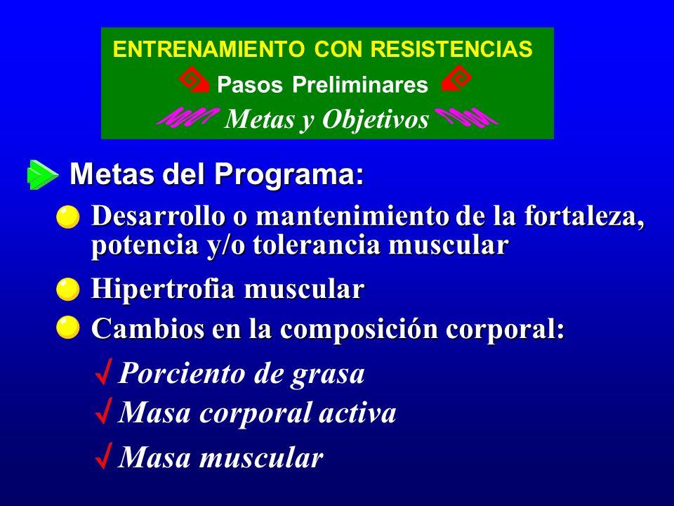 Metas del Programa: Hipertrofia muscular Cambios en la composición corporal: Desarrollo o mantenimiento de la fortaleza, potencia y/o tolerancia muscu