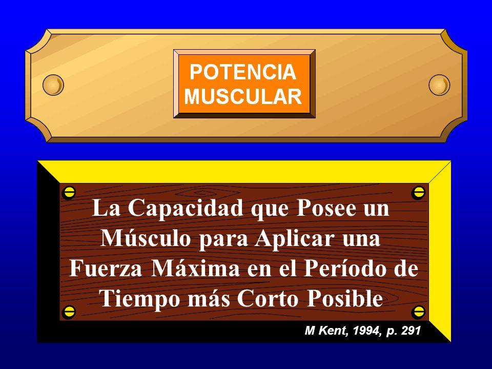 La Capacidad que Posee un Músculo para Aplicar una Fuerza Máxima en el Período de Tiempo más Corto Posible M Kent, 1994, p. 291