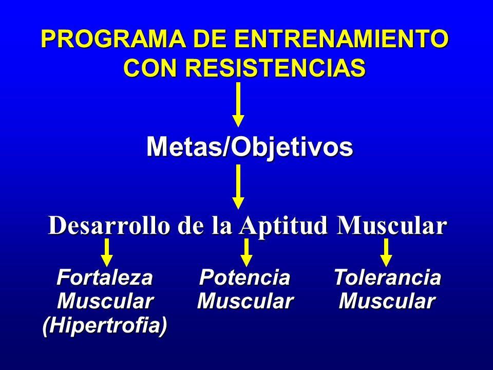 PROGRAMA DE ENTRENAMIENTO CON RESISTENCIAS Metas/Objetivos Desarrollo de la Aptitud Muscular FortalezaMuscular(Hipertrofia)PotenciaMuscularToleranciaM