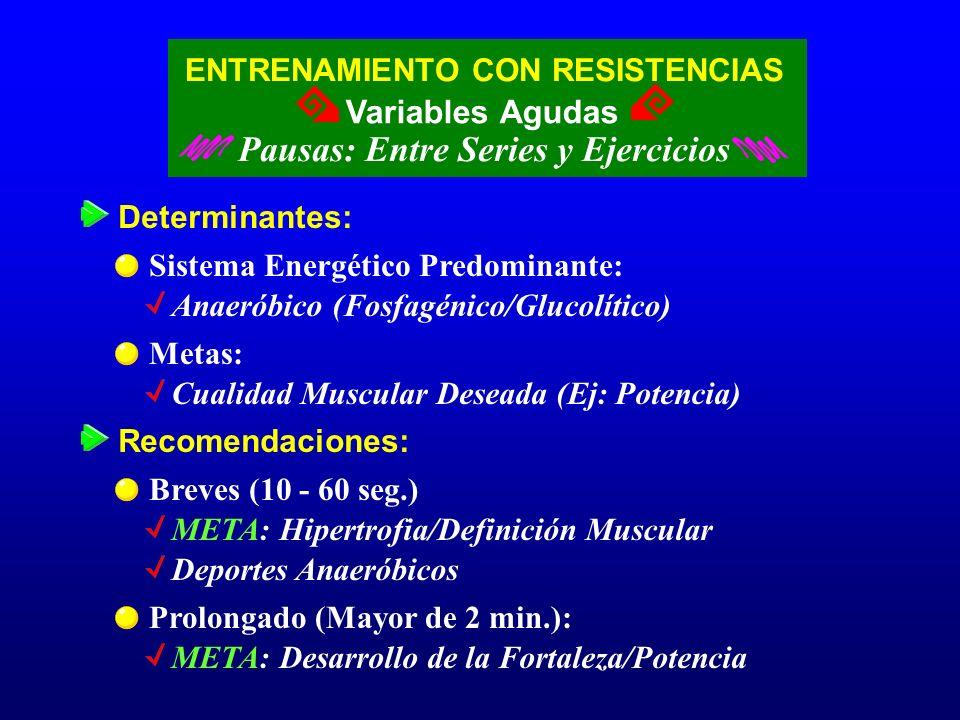 ENTRENAMIENTO CON RESISTENCIAS Variables Agudas Pausas: Entre Series y Ejercicios Determinantes: Sistema Energético Predominante: Anaeróbico (Fosfagén