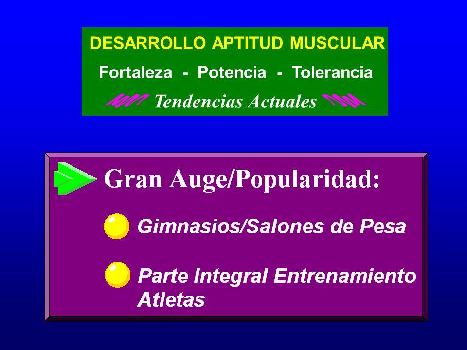 DESARROLLO APTITUD MUSCULAR Fortaleza - Potencia - Tolerancia Tendencias Actuales