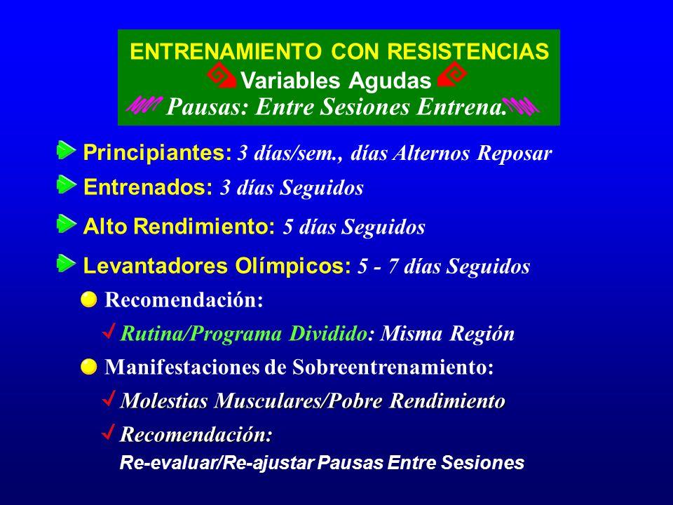 ENTRENAMIENTO CON RESISTENCIAS Variables Agudas Pausas: Entre Sesiones Entrena. Principiantes: 3 días/sem., días Alternos Reposar Levantadores Olímpic