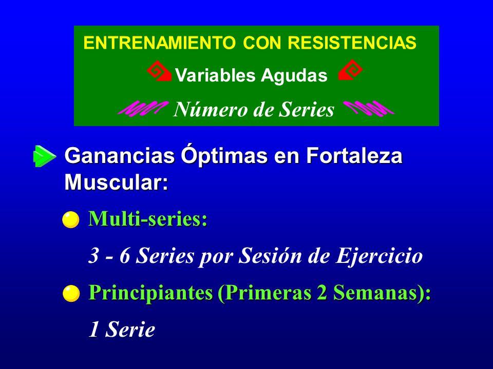 Ganancias Óptimas en Fortaleza Muscular: Multi-series: 3 - 6 Series por Sesión de Ejercicio Principiantes (Primeras 2 Semanas): 1 Serie ENTRENAMIENTO