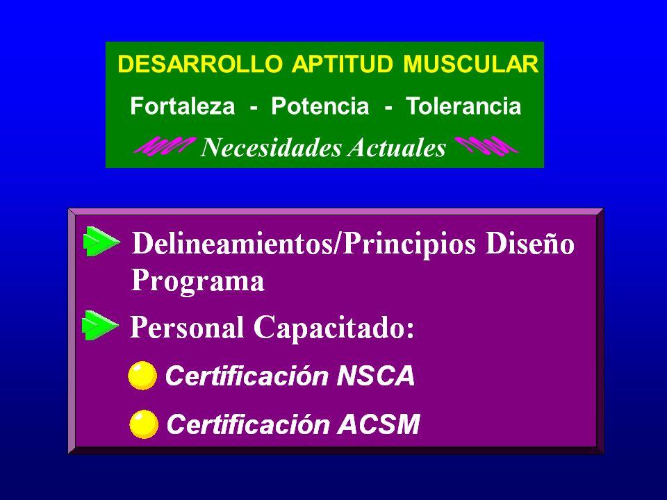 DESARROLLO APTITUD MUSCULAR Fortaleza - Potencia - Tolerancia Necesidades Actuales