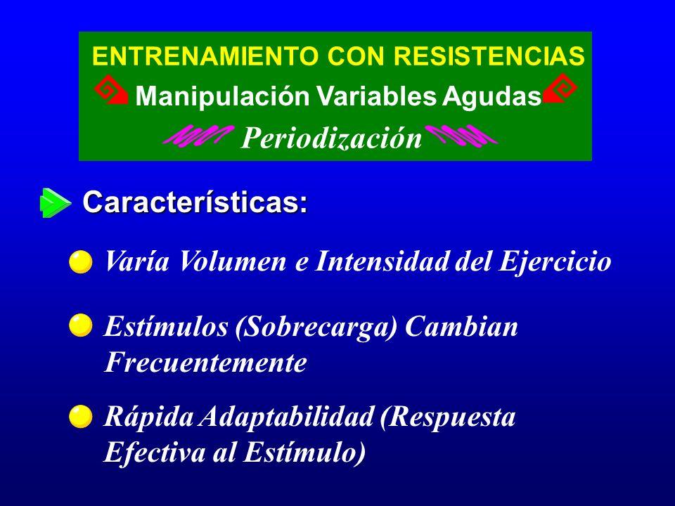 Características: Varía Volumen e Intensidad del Ejercicio Estímulos (Sobrecarga) Cambian Frecuentemente Rápida Adaptabilidad (Respuesta Efectiva al Es
