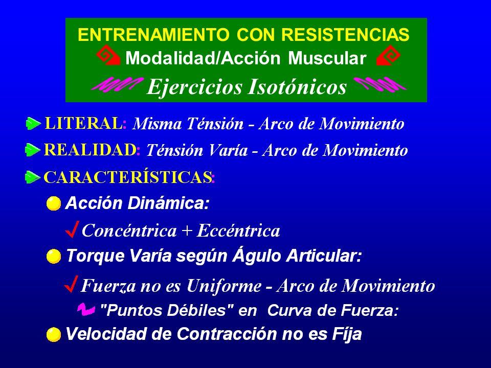 ENTRENAMIENTO CON RESISTENCIAS Ejercicios Isotónicos Modalidad/Acción Muscular