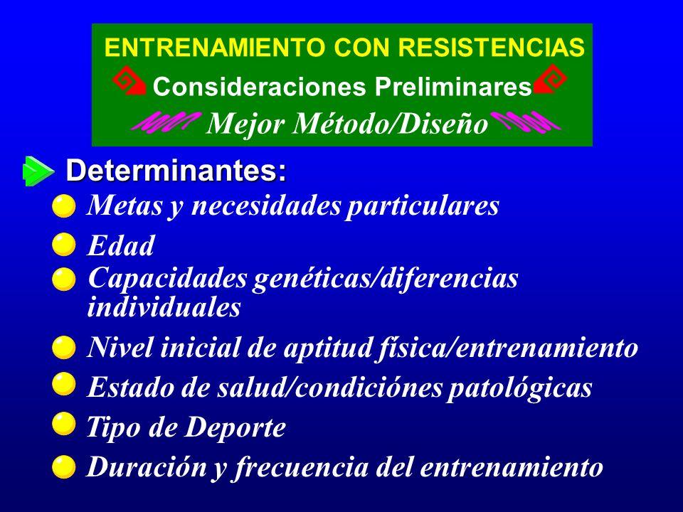 ENTRENAMIENTO CON RESISTENCIAS Mejor Método/Diseño Consideraciones Preliminares Determinantes: Metas y necesidades particulares Edad Capacidades genét