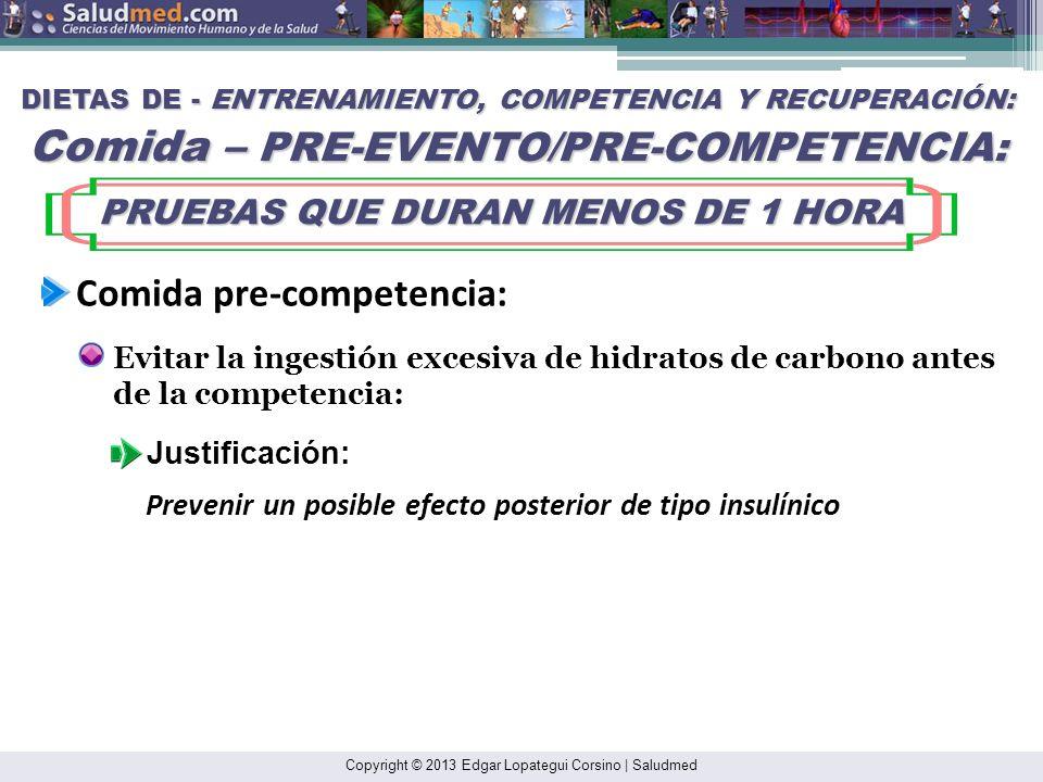 Copyright © 2013 Edgar Lopategui Corsino | Saludmed DIETAS DE - ENTRENAMIENTO, COMPETENCIA Y RECUPERACIÓN: Comida – PRE-EVENTO/PRE-COMPETENCIA: PRUEBA