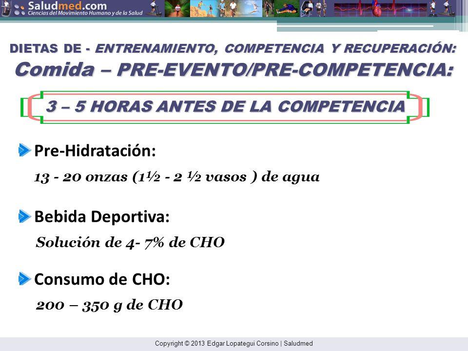 Copyright © 2013 Edgar Lopategui Corsino | Saludmed DIETAS DE - ENTRENAMIENTO, COMPETENCIA Y RECUPERACIÓN: Comida – PRE-EVENTO/PRE-COMPETENCIA: LA COM