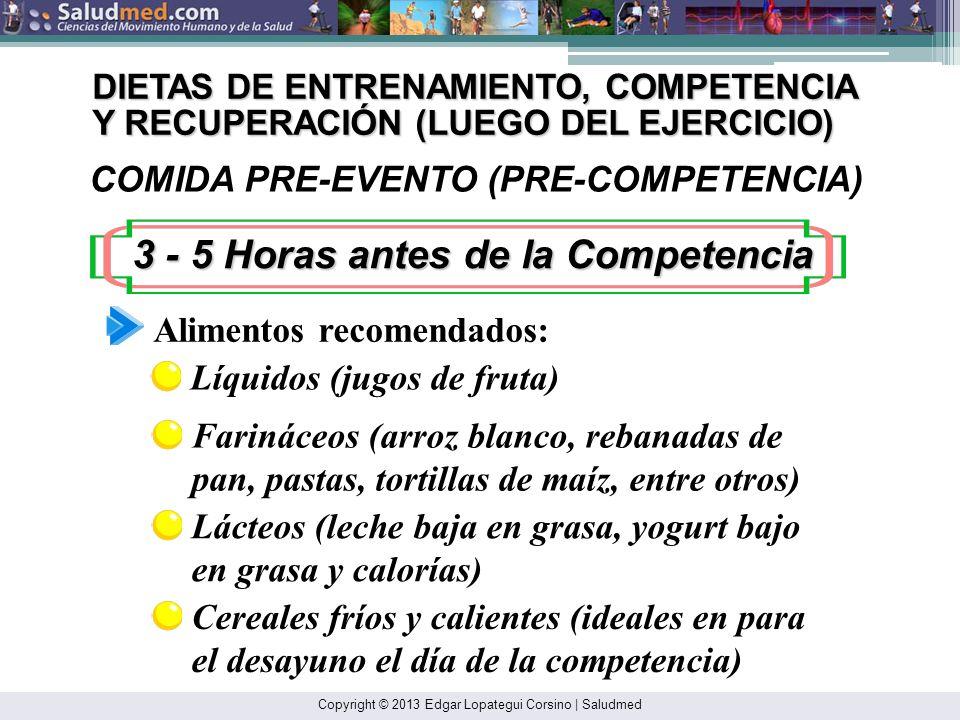 Copyright © 2013 Edgar Lopategui Corsino | Saludmed DIETAS DE - ENTRENAMIENTO, COMPETENCIA Y RECUPERACIÓN: Comida – PRE-EVENTO/PRE-COMPETENCIA: 3 – 5