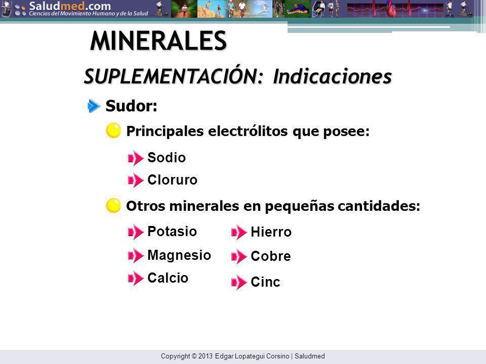 Copyright © 2013 Edgar Lopategui Corsino | Saludmed MINERALES SUPLEMENTACIÓN: Indicaciones Posibles deficiencias de minerales: Restricción en la inges