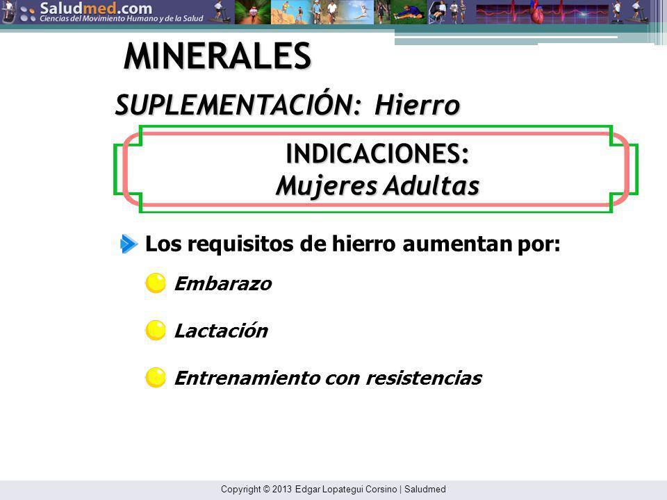 Copyright © 2013 Edgar Lopategui Corsino | Saludmed MINERALES Deportistas que se abstienen de los productos de carnes (Ej: vegetarianos) Atletas que p