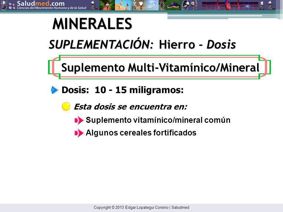 Copyright © 2013 Edgar Lopategui Corsino | Saludmed MINERALES Los requisitos de hierro aumentan por: SUPLEMENTACIÓN: Hierro INDICACIONES: Mujeres Adultas Embarazo Lactación Entrenamiento con resistencias