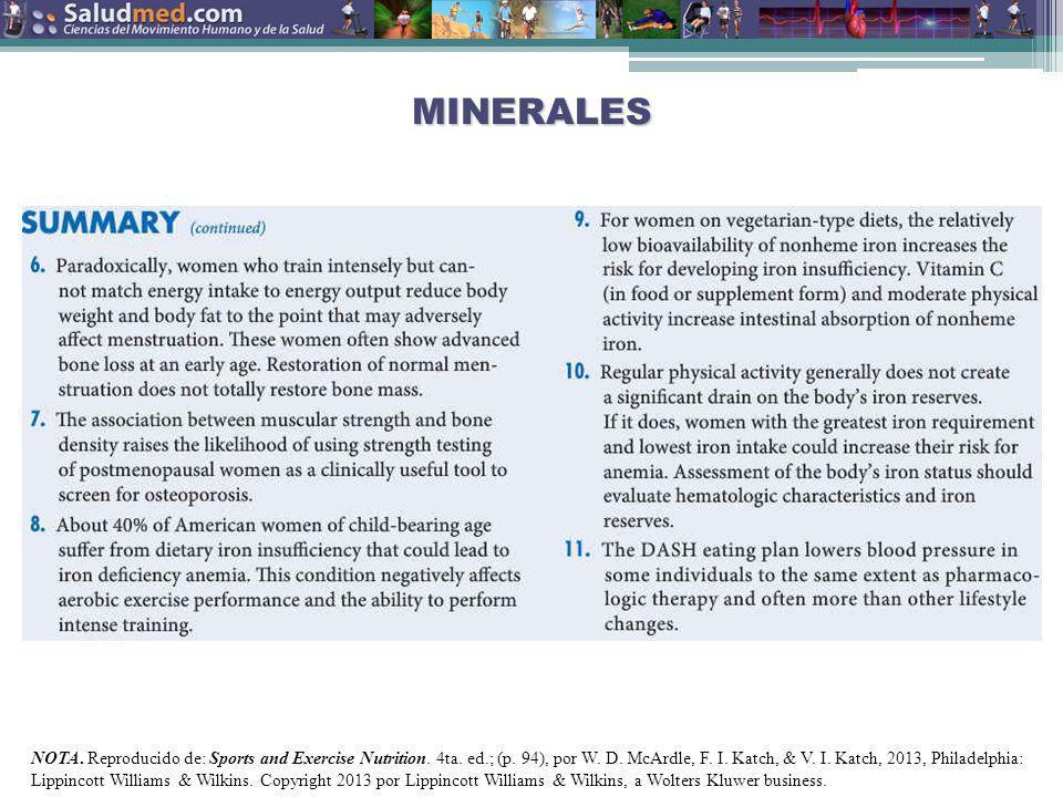 Copyright © 2013 Edgar Lopategui Corsino | Saludmed MINERALES NOTA. Reproducido de: Sports and Exercise Nutrition. 4ta. ed.; (p. 93), por W. D. McArdl